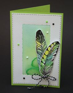 Stempelafdruk met ecoline brushpennen ingekleurd. Marjolein Zweed Creatief