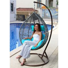 Island Gale Hanging Basket Chair Outdoor Front Porch Furniture with Stand and Cushion(Grey Wicker, Orange Cushion) Rattan Egg Chair, Nest Chair, Egg Swing Chair, Hanging Swing Chair, Swinging Chair, Swing Chairs, Hanging Basket, Hanging Chairs, Lounge Chairs