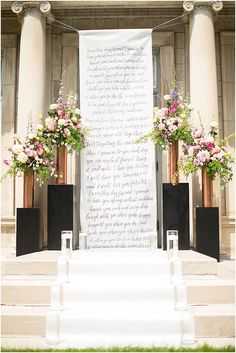 Hanging wall scroll  | Image by Poly Mendes Photography, see more http://www.frenchweddingstyle.com/pretty-parisian-wedding-inspiration/