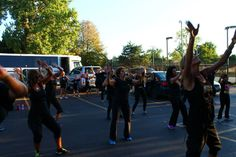 practicing halftime routine before getting on the Party Bus to the Chicago Sky basketball game 8/23/13
