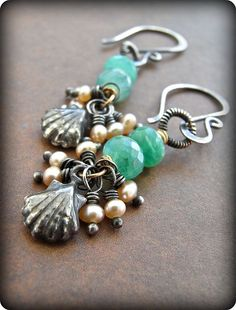 Sweet little earrings made with Peruvian opal, freshwater pearls, oxidised sterling silver and a touch of goldfill.