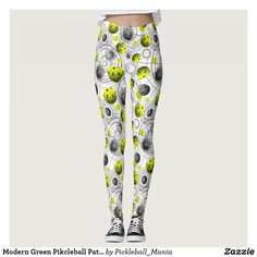 Modern Green Pikcleball Patturn Leggings