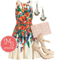 In this outfit: Paint She Sweet? Dress, Craft Fairest of Them All Earrings, Chic to Chic Clutch, Shoe Had Me At Hello Heel in Beige #floral #dresses #specialoccasion #fancy #heels #alinedress #ModCloth #ModStylist #ootd #fashion