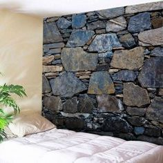 Wholesale Wall Hanging Art Decor Stone Wall Print Tapestry - Midnight W79 Inch * L59 Inch Polyester Wall