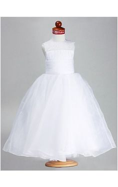 Ball Gown Jewel Ankle-length Organza Satin Flower Girl Dress