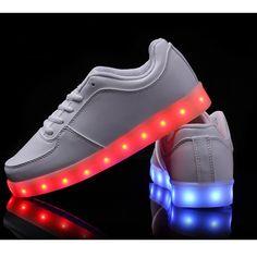 Vnfire 7 Couleur Unisexe Homme Femme USB Charge LED Lumière Lumineux Clignotants Chaussures de Sports Baskets Blanc Taille 38
