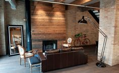 Image result for fireplace with wood surround Pallet Fireplace, Wood Fireplace Surrounds, Reclaimed Wood Fireplace, Fireplace Wall, Fireplace Design, Fireplace Ideas, Pallet Walls, Fireplace Remodel, Reclaimed Timber