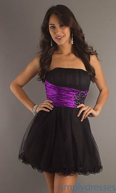 Short Strapless Tulle Party Dress at SimplyDresses.com