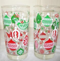 Lot of 4 Vintage CHRISTMAS Ornaments Drinking Glasses - Red & Green on Clear
