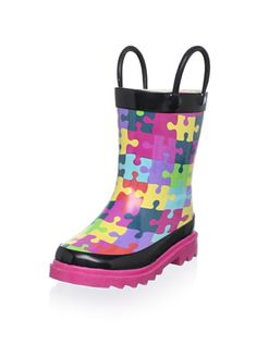 40% OFF Western Chief Kid's Puzzle Pieces Rain Boot (Toddler/Little Kid) (Multi)