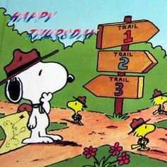 Happy Thursday - Scoutmaster Snoopy and Woodstock and Friends as Cadets Trying To Decide Which Trail To Follow