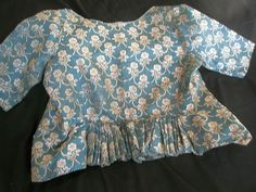 Delightful Antique French Silk Bodice IN Blue AND Cream Floral Design CA 1780 | eBay