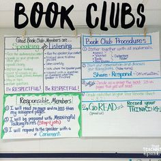 Book clubs start next week! I take pics of my anchor charts so its easy for me to reference them the next year. 5th Grade Books, 6th Grade Reading, Ela Anchor Charts, Reading Anchor Charts, Book Club Books, Book Clubs, Literacy Circles, Middle School Books, Literature Circles