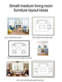Vered Rosen Design: Living room seating arrangements and furniture layout ideas for small to medium sized living room.