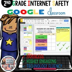2nd Grade Internet Safety Digital Interactive Notebook. #tptdigital $
