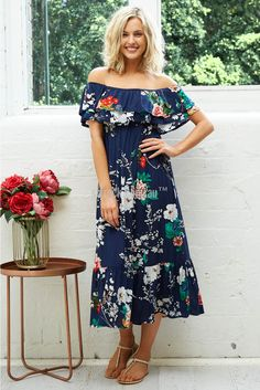 7c81be62b59ece Tango Maxi Dress in Navy with White Floral
