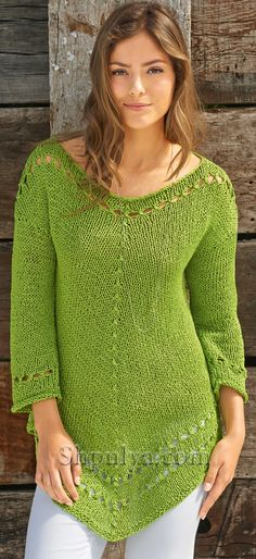 Зеленая туника спицами