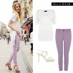 We're wearing our #Bastyan cropped lilac jeans with a white tee and heels this #spring. Throw on a white jacket if you want to dress it up. #fashion