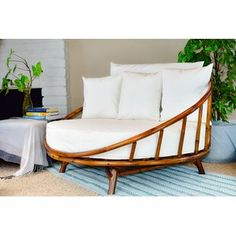 Bayou Breeze Olu Bamboo Round Patio Daybed with Cushions Bamboo Furniture, Furniture Decor, Furniture Design, Outdoor Furniture, Outdoor Decor, Modern Furniture, Rustic Furniture, Antique Furniture, Futuristic Furniture