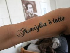"""Black ink """"family is everything"""" tattoo"""