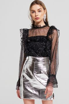Scarlett Side Cut Out Metallic Skirt Discover the latest fashion trends online at storets.com #fashion #sidecutout #metallicskirt #miniskirt #skirts #storetsonme