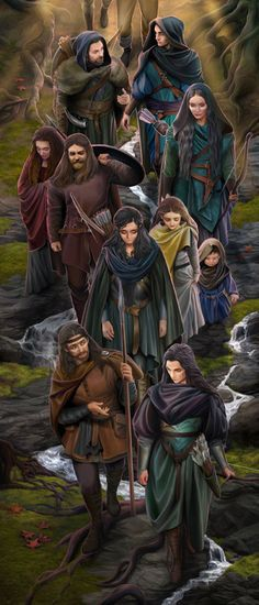 """Men met Dark Elves by steamey """"Chapter 12 Of Men /  Yet it is told that ere long they met Dark Elves in many places, and were befriended by them; and Men became the companions and disciples in their childhood of these ancient folk, wanderers of the Elven- race who never set out upon the paths to Valinor, and knew of the Valar only as a rumour and a distant name."""""""