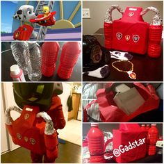 Marshall backpack and helmet - Paw Patrol DIY Costume. Halloween no sew easy costume. Back pack made with: -Two water bottles with red acrylic paint shaken inside. -Pipe cleaners and tape to hold bottles onto pack -cardboard box cut to size/shape inside a red reusable bag -foil wrapped around pipe cleaner.