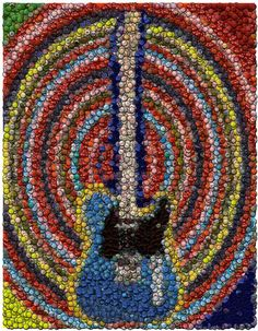 Bottle Cap Art | ... Cap Mosaic Mixed Media - Electric Guitar Bottle Cap Mosaic Fine Art