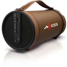 Axess Portable Bluetooth Indoor/Outdoor Hi-Fi Cylinder Loud Speaker with SD Card, AUX and FM Inputs, Axess is a great travel speaker. The small size ye Travel Speakers, Stereo Speakers, Bluetooth Speakers, Submarine For Sale, Sd Card, Indoor Outdoor, Usb, Brown, Products