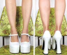 90s White Monster Club Kid Mary Jane Patent Platform Heels (10.5). $40.00, via Etsy.