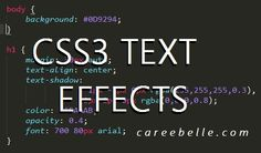 Create 3D Embossed Effect with CSS3 | Spruce up your website with cool text effects using only CSS | Easy and simple to do | HTML & CSS | CSS Beginners Tutorial Tips Hints | Web Design | Website Design | Caree Belle | Design & Development | www.careebelle.com | css3 tutorials | caree belle tutorials