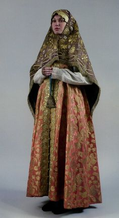 """Female """"Old Believer"""" costume from Nizhny Novgorod province. It consists of a Sundress and embroidered scarf. Such expensive scarfs were not available to all; even to women from rich families. Traditional Fashion, Traditional Dresses, Russian Culture, Russian Folk, Russian Style, Russian Fashion, Folk Costume, Historical Clothing, Dance Dresses"""