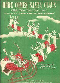 Vintage 1947 Here Comes Santa Claus Sheet by MuddyRiverAntiques, $5.00