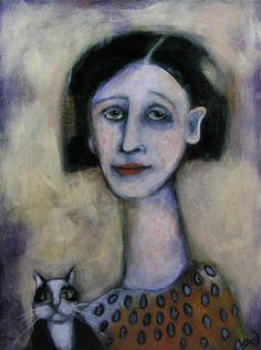 Contemporary Folk Art Portrait Painting Woman and Tuxedo Cat Original