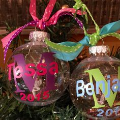 These adorable baby's first Christmas ornaments can be customized with your baby's initial and names and colors of your choice. You can also put a hospital bracelet or other tiny object inside the ornament. Great baby shower gift! Only $8!