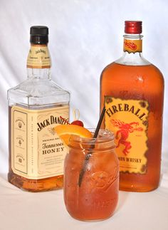 Fuego: Spiced Honey Tea  Blend of Jack Daniels Honey, Fireball, Triple Sec and Unsweet Tea served over ice and garnished with a fresh orange wedge.