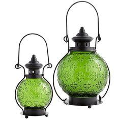 Medallion Glass Lanterns - Green | Pier 1 Imports