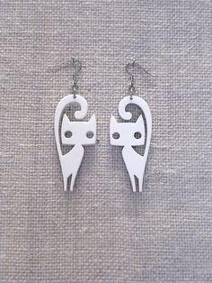 Cute cat earrings laser cut plexiglass Various by muchoshop