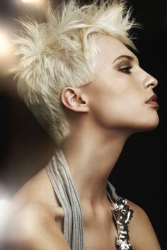 blonde pixie cuts with mohawk | strong and moody blonde spiked up pixie this is a spiky hair style ...