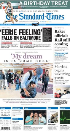 The Standard-TImes. April 29, 2015.  South Coast Rail still alive, New Bedford elementary students make friends and tour Tabor Academy, new hotel in Wareham welcoming guests and more!