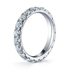 Forever One Moissanite Pave Eternity Ring Wide Moissanite Wedding Rings, Moissanite Diamonds, Charles And Colvard Moissanite, Stackable Bands, Forever One Moissanite, Eternity Bands, Anniversary Rings, Types Of Metal, Natural Diamonds