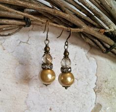 Victorian Pearl Dangle Earrings with Pale Gold by SmockandStone, $17.00