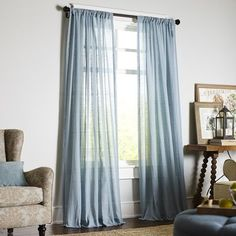 Quinn Sheer Curtain - Smoke Blue (our curtains are actually a different shade of blue, but they're pretty much just as sheer)