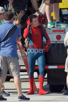 Tom on the set of Spider-Man:Honecoming