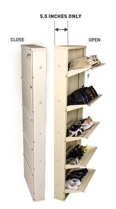*closet idea Shoe rack 5 shelf-hanging metal stand shoes organizer for home with foldable door-wall mounted space saving Racks -modern furniture design with centralized lock -Accommodate family footwear in just inches of space-Best life time guarantee Wall Storage, Bedroom Storage, Diy Storage, Storage Spaces, Storage Ideas, Diy Bedroom, Bedroom Organization, Organization Ideas, Trendy Bedroom