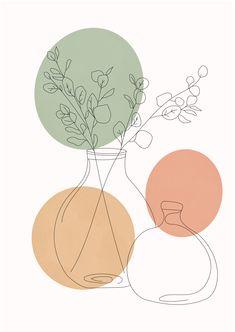 Aesthetic boho plant poster, one line art, continuous line art, house plant print