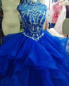 Splendid tulle organza high collar floor length ball gown quinceanera dresses with beadings royal blue quince dress quinceanera quinceaneraparty quinceaneradresses houstontx Ball Gown Dresses, 15 Dresses, Cute Dresses, Beautiful Dresses, Evening Dresses, Fashion Dresses, Pretty Quinceanera Dresses, Royal Blue Prom Dresses, Quince Dresses