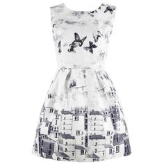 Vintage Butterfly Printing A-line Dress ($14) ❤ liked on Polyvore featuring dresses, vintage white dress, a line dress, no sleeve dress, sleeveless a line dress and butterfly print dress