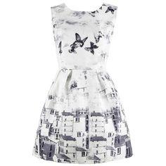 Vintage Butterfly Printing A-line Dress (49 BRL) ❤ liked on Polyvore featuring dresses, vestidos, short dresses, robes, vintage a line dress, butterfly dress, white mini dress, vintage mini dress and sleeveless short dress
