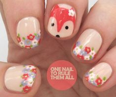 Floral Fox Nail Design, Nail Art, Nail Salon, Irvine, Newport Beach